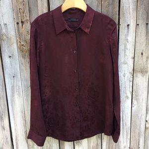 The Row Jacquard Silk Stretch Shirt Burgundy 12